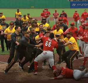Brawl in the Reds/Pirates game. Look who's front and center: HYUND  339 Brawl in the Reds/Pirates game. Look who's front and center