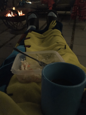I'm eating macaroni salad, drinking coffee in my narwhal socks with my pikachu blanket, by the fire: I'm eating macaroni salad, drinking coffee in my narwhal socks with my pikachu blanket, by the fire