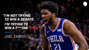 """""""I'm not trying to win a debate.   I'm trying to win a f***ing title.""""   Are the@sixers on the road to the@NBA Finals? 👀  📝: https://t.co/YoeSxLXNcL https://t.co/Wqfl2yXxoA: """"I'm not trying to win a debate.   I'm trying to win a f***ing title.""""   Are the@sixers on the road to the@NBA Finals? 👀  📝: https://t.co/YoeSxLXNcL https://t.co/Wqfl2yXxoA"""