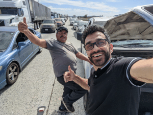 I'm visiting California, I was expecting to make some new friends, but to be honest I wasn't expecting it to happen on the highway while I was sitting idle for 35 minutes… I guess I'm really getting the full Californian experience.: I'm visiting California, I was expecting to make some new friends, but to be honest I wasn't expecting it to happen on the highway while I was sitting idle for 35 minutes… I guess I'm really getting the full Californian experience.
