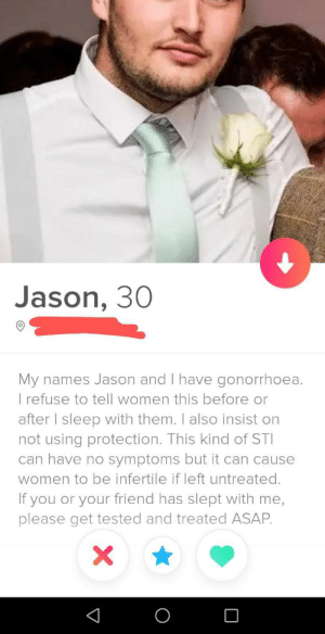 I've never used Tinder but my mate sent me this today.. Bad Jason!: I've never used Tinder but my mate sent me this today.. Bad Jason!