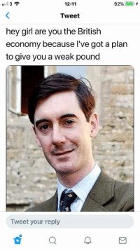 Girl, Hey Girl, and British: I 3  12:11  92% (-), +  Tweet  hey girl are you the British  economy because l've got a plarn  to give you a weak pound  Tweet your reply meirl