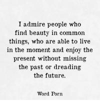 Future, Common, and Live: I admire people who  find beauty in common  things, who are able to live  in the moment and enjoy the  present without missing  the past or dreading  the future.  Word Porn