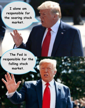Soaring: I alone am  responsible for  the soaring stock  market.  The Fed is  responsible for the  falling stock  market