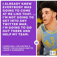 Lonzo just wants to play.: I ALREADY KNEW  EVERYBODY WAS  GOING TO COME  AT ME LIKE THAT.  I'M NOT GOING TO  GET INTO ANY  TWITTER WAR  I'M GOING TO GO  OUT THERE AND  HELP MY TEAM  LONZO BALL ON HAVING A  TARGET ON HIS BACK DUE TO  LAVAR'S COMMENTS  B R  H/T ESPN Lonzo just wants to play.
