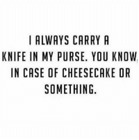 Just FWI I hate cheesecake so it would be for like chocolate cake: I ALWAYS CARRY A  KNIFE IN MY PURSE. YOU KNOW  IN CASE OF CHEESECAKE OR  SOMETHING. Just FWI I hate cheesecake so it would be for like chocolate cake