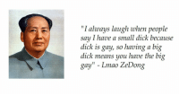 """Small Dick: """"I always laugh when people  say I have a small dick becau  dick is gay, so having a big  dick means you have the big  gay"""" - Lmao ZeDong  se"""