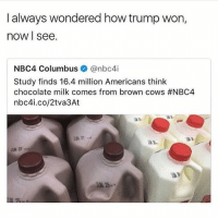 Grandma, Irish, and Love: I always wondered how trump won,  now I see.  NBC4 Columbus@nbc4i  Study finds 16.4 million Americans think  chocolate milk comes from brown cows #NBC4  nbc4i.co/2tva3At  法1  涵3-  UN 22 my parents are taking me to watch fireworks tonight and I brought an irish flag blanket because I'm EDGY (and if you're wondering why I have an irish flag blanket it's bc in 6th grade I asked my grandma to make it for me bc I was in love with Niall Horan)