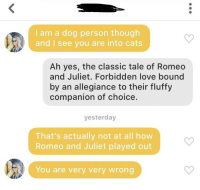 Cats, Love, and Romeo and Juliet: I am a dog person though  and I see you are into cats  Ah yes, the classic tale of Romeo  and Juliet. Forbidden love bound  by an allegiance to their fluffy  companion of choice.  yesterday  That's actually not at all how  Romeo and Juliet played out  You are very very wrong Very very wrong