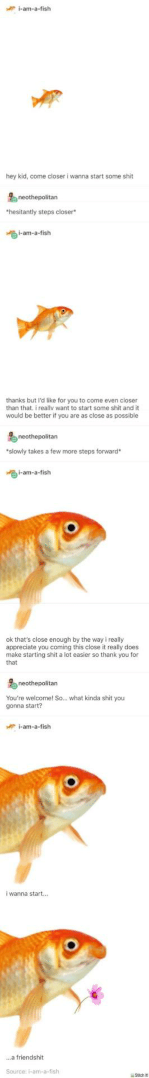 Shit, Thank You, and Appreciate: i-am-a-fish  hey kid, come closer i wanna start some shit  hesitantly steps closer  i-am-a-fish  thanks but I'd like for you to come even closer  than that. i reallv want to start some shit and it  would be better if you are as close as possible  neothepolitan  slowly takes a few more steps forward  i-am-a-fish  ok that's close enough by the way i really  appreciate you coming this close it really does  make starting shit a lot easier so thank you for  that  neothepolitan  You're welcome! So... what kinda shit you  gonna start?  i-am-a-fish  i wanna start..  ...a friendshit  Source: i-am-a-fish lil fish friend