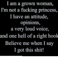 And a good left hook 👊🏽👊🏽 firebitches: I am a grown Woman,  I'm not a fucking princess,  I have an attitude,  opinions,  a very loud voice,  and one hell of a right hook  Believe me when I say  I got this shit! And a good left hook 👊🏽👊🏽 firebitches