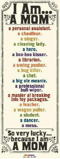 LIKE|SHARE|TAG: I Am..  a personal assistant.  a chauffeur.  a Singer.  a cleaning lady.  a hero.  a boo-boo kisser.  a librarian.  a swing pusher.  a bug killer.  a chef.  a big ole meanie.  a professional  bull-wiper.  a masler at breaking  into toy packages.  a teacher.  a wagon puller.  a student.  a dancer.  a mess.  So very lucky  because lames LIKE|SHARE|TAG