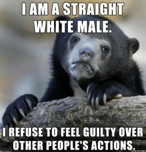 Happy friday.: I AM A STRAIGHT  WHITE MALE.  IREFUSE TO FEEL GUILTY OVER  OTHER PEOPLE'S ACTIONS  made on imgur Happy friday.