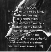 I AM A WOLF:  it's my nature to be kind,  ntle and loving...  BUT KNOW THIS:  when it comes to matters  of protecting my friends  family and heart  Don't trifle with me.  for i malsouthe most powerful  and relentless creature  t you will ever know.