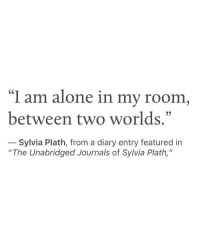 "Being Alone, Sylvia Plath, and Two Worlds: ""I am alone in my room  between two worlds.""  Sylvia Plath, from a diary entry featured in  ""The Unabridged Journals of Sylvia Plath,"""