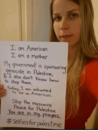 Memes, Israel, and Prayer: I am American  I am mother  My is sponsorin  enocide in Palestine  & I dlso don't know how  to stop them.  Today I am ashamed  to be on American.  Stop the massacre  Peace for Palestine  u are in my prayers.  ttselfies for palestine Get involved! #BDS Israel; End #Apartheid  I do support Palestine