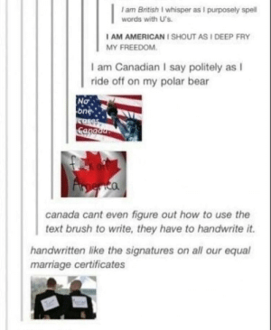 America, Marriage, and Bear: I am British I whisper as I purposely spell  words with U's  AM AMERICANI SHOUT AS I DEEP FRY  MY FREEDOM  I am Canadian I say politely as I  ride off on my polar bear  No-  one  canada cant even figure out how to use the  text brush to write, they have to handwrite it.  handwritten like the signatures on all our equal  marriage certificates Canada vs America