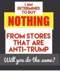 Memes, Anti, and 🤖: I AM  DETERMINED  TO BUY  NOTHING  FROM STORES  THAT ARE  ANTI-TRUMP  will you do the same? They won't see my money. Nor will I listen to or watch those who are against our president Trump.