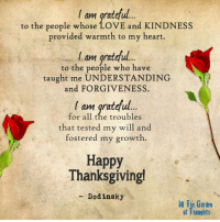Beautiful, Love, and Thanksgiving: I am grateful.  to the people whose LOVE and KINDNESS  provided warmth to my heart.  am gra  to the people who have  taught me UNDERSTANDING  and FORGIVENESS.  '  l am gratful  for all the troubles  that tested my will and  fostered my growth  Happy  Thanksgiving!  - Dodinsky  in The Garten  of Thoughts As today is Thanksgiving in the United States, we wanted to take a moment to thank our beautiful fans from all around the world. We hope you get to spend the day surrounded by the people you love. Sending love and gratitude to all. Happy Thanksgiving! -DLQ  http://www.dodinsky.com/gift-book/