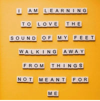 Love, Sound, and Thing: I AM LEARNING  TO LOVE THE  SOUND OF MY FEE T  WA L K I N G A WA Y  FROM THING S  NOT MEANT! FOR  M E