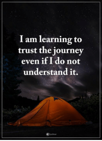 Journey, Memes, and 🤖: I am learning to  trust the journey  even if I do not  understand it.