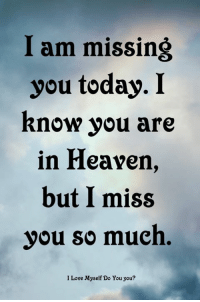 I am missing  you today. I  Rnow you are  in Heavern,  but I miss  you so much.  I Love Myself Do You you?