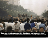 "esoteric yet educational memes: ""I am not afraid anymore, this time there are too many of us.""  1989 Tiananmen square student protest leader Guo Haifeng, on the day the protest was crushed. esoteric yet educational memes"