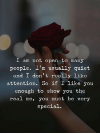 Quiet, The Real, and Open: I am not open to many  people. I'm usually quiet  and I don't really like  attention. So if I like you  enough to show you the  real me, you must be very  special.