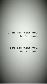 Think, You, and What: I am not what you  think i am.  You are what you  think i am.