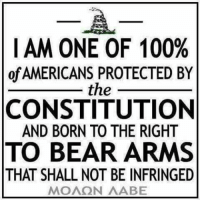 Whether you agree with, accept or exercise that right or not, it is still your right and it is still constitutionally protected. Is it also MY protected right. Protected from YOUR disagreement, lack of acceptance or exercise.  Period. End of discussion.  Gun Up, Train and Carry  (if you choose and mind your own if you don't) Jon Britton aka DoubleTap: I AM ONE OF 100%  of AMERICANS PROTECTED BY  the  CONSTITUTION  AND BORN TO THE RIGHT  TO BEAR ARMS  THAT SHALL NOT BE INFRINGED  MOAQN AABE Whether you agree with, accept or exercise that right or not, it is still your right and it is still constitutionally protected. Is it also MY protected right. Protected from YOUR disagreement, lack of acceptance or exercise.  Period. End of discussion.  Gun Up, Train and Carry  (if you choose and mind your own if you don't) Jon Britton aka DoubleTap