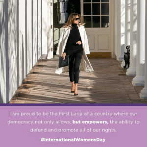 Today, we celebrate and honor women worldwide for their vital role in shaping and strengthening our communities, families, governments, and businesses. Happy International Women's Day!: I am proud to be the First Lady of a country where our  democracy not only allows, but empowers, the ability to  defend and promote all of our rights.  Today, we celebrate and honor women worldwide for their vital role in shaping and strengthening our communities, families, governments, and businesses. Happy International Women's Day!