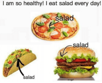 Memes, 🤖, and Every Day: I am so healthy! eat salad every day!  alad  salad  salad  mngat yall do this? 😂