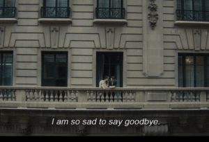 Sad, Goodbye, and  Say: I am so sad to say goodbye.