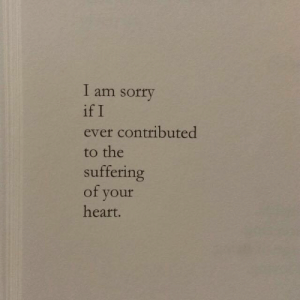 I Am Sorry: I am sorry  if I  ever contributed  to the  suffering  of youf  heart.