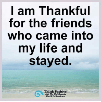 Think Positive ❤️: I am Thankful  for the friends  who came into  my life and  stayed.  Think Positive  with Dr. Des Sandella  The RIM Institute Think Positive ❤️