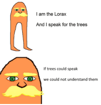 I am the Lorax  And I speak for the trees  If trees could speak  we could not understand them