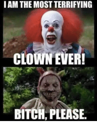 haha: I AM THE MOSTTERRIFYING  CLOWN EVER!  BITCH, PLEASE. haha