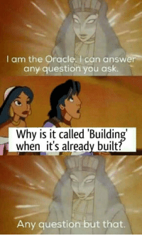 But why? via /r/memes http://bit.ly/2Dry0jX: I am the Oracle. I can answer  any question you ask.  Why is it called 'Building  when it's already built?  Any question but that. But why? via /r/memes http://bit.ly/2Dry0jX