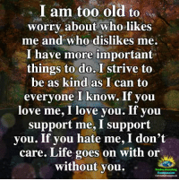 Life, Love, and Memes: I am too old to  worry about who likes  me and who dislikes me  have more important  things to do. I strive to  be as kind as I can to  yone I know. If you  e me, I love you. If you  ever  lov  support me, I support  you. If you hate me, I don't  care. Life goes on with or  without you.  Understanding  Compassion <3