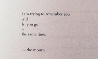 Time, Remember, and You: i am trying to remember you  and  let you go  at  the same time.  the mourn