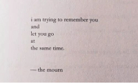 Time, Remember, and You: i am trying to remember you  and  let you go  at  the same time.  -the mourn