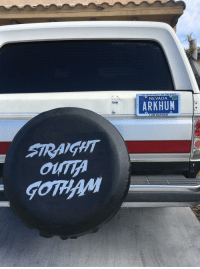"Batman, News, and Superhero: I AM VENGEANCE, I AM THE NIGHT  NEVADA  ARKHUM  I AM BATMAN  SRAGHT  Ou  GOMAM <p><a href=""https://superhero-news.tumblr.com/post/159013190322/the-back-of-this-guys-truck"" class=""tumblr_blog"">superhero-news</a>:</p>  <blockquote><p>The back of this guys truck.</p></blockquote>"
