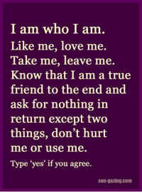 <3: I am who I am  Like me, love me.  Take me, leave me.  Know that I am a true  friend to the end and  ask for nothing in  return except two  things, don't hurt  mme or use mme  Type yes if you agree  Sun-gazing.com <3