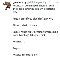 💀💀💀💀💀-Divka the 💀💀: i_amJeremy @dr5bludgeoning 2d  Wizard: Im gonna need a human skull  and i can't have you ask any questions  why.  Rogue: only if you also don't ask why  Wizard: what...ok sure.  Rogue: *pulls out 7 pristine human skulls  from their bag* take your pick.  Wizard:...  Rogue:...  Wizard: this one is fine 💀💀💀💀💀-Divka the 💀💀