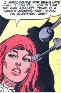 womenwriteaboutcomics:  superdames:  Congresswoman Batgirl is right, but you should seriously go vote. —Detective Comics #487 (1980) by Jack C. Harris  Dick Giordano  To all our American followers, don't forget to vote! : I APOLOGIZE FOR BEING LATE  -ALL I CAN TELL you IS THAT  THE WAR AGAINST CRIME IS A  NEVER-ENDING ONE--EVENN  ON ELECTION DAY  i: womenwriteaboutcomics:  superdames:  Congresswoman Batgirl is right, but you should seriously go vote. —Detective Comics #487 (1980) by Jack C. Harris  Dick Giordano  To all our American followers, don't forget to vote!