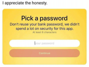 Nice honesty.: I appreciate the honesty.  Pick a password  Don't reuse your bank password, we didn't  spend a lot on security for this app.  At least 6 characters  lyour password  Continue Nice honesty.
