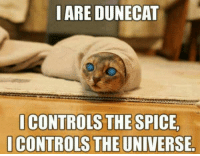 Dune: I ARE DUNECAT  I CONTROLS THE SPICE.  CONTROLS THE UNIVERSE
