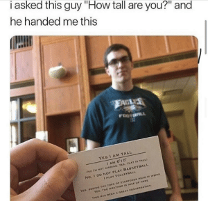"""The BFG in real life! via /r/wholesomememes https://ift.tt/31S9YaA: i asked this guy """"How tall are you?"""" and  he handed me this  EAGLES  FOOTOL  YES I AM TALL  I AM 6'10  (No I'M NOT KIDDING. YES, THAT IS TALL)  No, 1 DO NOT PLAY BASKETBALL  I PLAY VOLLEYBALL  YEs, SEEING THE TOPS OF EVERYONES HEAD IS WEIRD  YES, THE WEATHER IS NICE UP HERE  THIS HAS DEEN A GREAT CONVERSATION The BFG in real life! via /r/wholesomememes https://ift.tt/31S9YaA"""