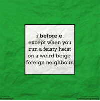 Another rule of grammar: double negatives are a no-no.: i before e  except when you  run a feisty heist  on a weird beige  foreign neighbour.  Created by  Omrsimontaylor  Designed and shared by  facebook.com/grammarly Another rule of grammar: double negatives are a no-no.