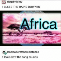 @notbillwurtz I am ur biggest fan - Max textpost textposts: I BLESS THE RAINS DOWN IN  Africa  lenaleaderoftheresistance  It looks how the song sounds @notbillwurtz I am ur biggest fan - Max textpost textposts